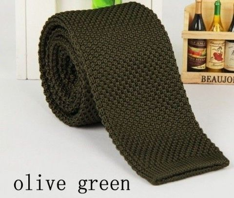Olive Green Tie Knitted Tie Necktie Narrow Slim Woven